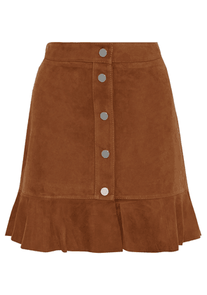 Ganni Salvia Ruffle-trimmed Suede Mini Skirt Woman Light brown Size 40