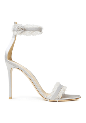 Gianvito Rossi Frayed Satin Sandals Woman Light gray Size 39