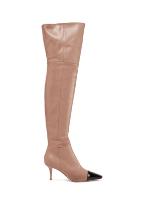 Gianvito Rossi 70 Two-tone Leather Over-the-knee Boots Woman Light brown Size 34