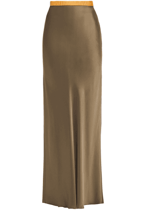 Helmut Lang Satin Maxi Skirt Woman Army green Size M