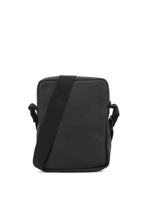 Rains Jet Black Water-resistant Rubberised Cross-body Bag