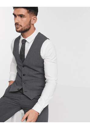 ASOS DESIGN super skinny suit waistcoat in four way stretch in charcoal-Grey