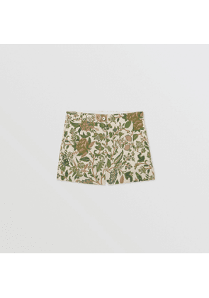 Burberry Childrens Botanical Print Cotton Tailored Shorts, Green