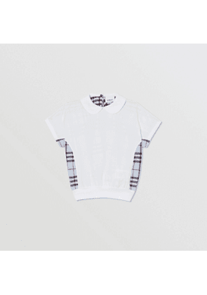 Burberry Childrens Check Panel Cotton Top, White