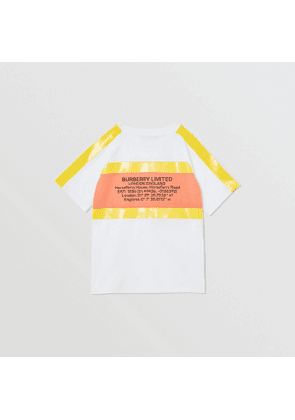 Burberry Childrens Tape Detail Location Print Cotton T-shirt, Yellow