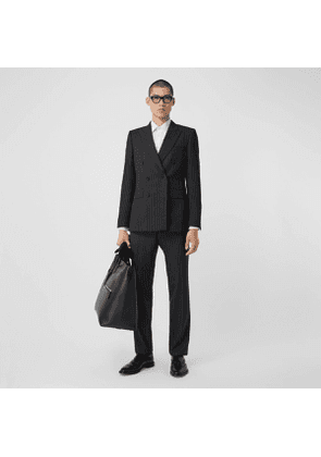 Burberry English Fit Pinstriped Wool Double-breasted Suit, Grey