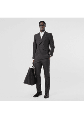 Burberry Classic Fit Windowpane Check Wool Silk Suit, Grey
