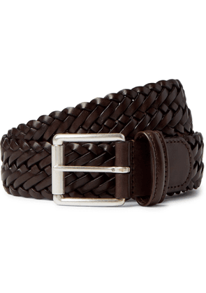 Anderson's - 3.5cm Brown Woven Leather Belt - Men - Brown