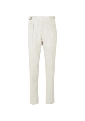 Anderson & Sheppard - Pleated Linen Trousers - Men - Neutrals