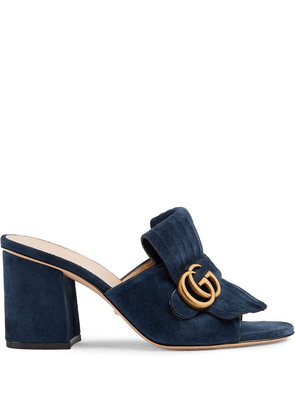 Gucci Suede mid-heel slide with Double G - Blue