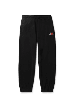 Balenciaga - Wide-Leg Logo-Print Loopback Cotton-Jersey Sweatpants - Men - Black