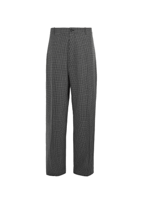 Balenciaga - Wide-Leg Checked Wool-Blend Trousers - Men - Gray