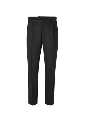 Barena - Tapered Pleated Wool-Blend Twill Trousers - Men - Black