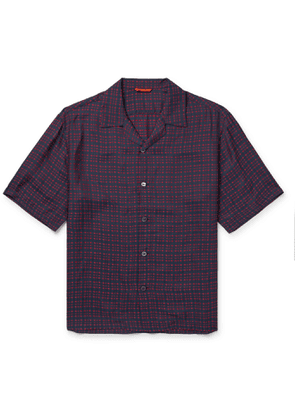 Barena - Camp-Collar Checked Woven Shirt - Men - Blue