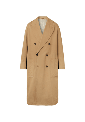 Barena - Double-Breasted Felt-Trimmed Cotton-Gabardine Trench Coat - Men - Neutrals