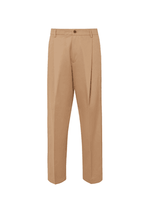 Barena - Tapered Cropped Pleated Cotton-Twill Trousers - Men - Neutrals