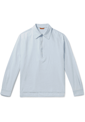 Barena - Cotton-Chambray Half-Zip Shirt - Men - Blue