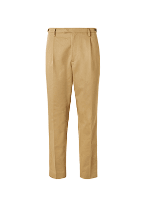 Barena - Masco Tapered Pleated Cotton-Twill Trousers - Men - Brown