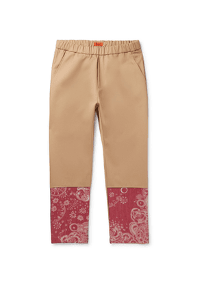Barena - Tapered Floral Jacquard-Panelled Cotton-Twill Trousers - Men - Neutrals