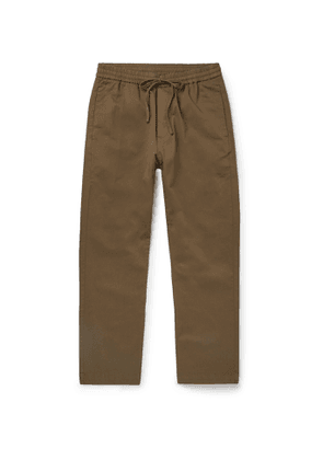 Barena - Tapered Cotton-Twill Drawstring Trousers - Men - Brown