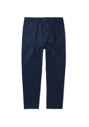 Bellerose - Tapered Pleated Cotton-Twill Trousers - Men - Blue