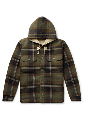 Beams Plus - CPO Reversible Checked Cotton-Blend Twill and Flannel Hooded Jacket - Men - Green