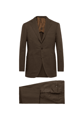 Beams F - Slim-Fit Cotton and Linen-Blend Twill Suit - Men - Brown