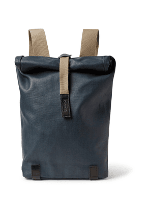 Brooks England - Pickwick Small Leather-Trimmed Coated Cotton-Canvas Backpack - Men - Blue