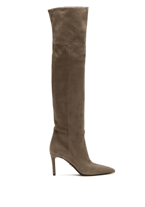 Prada pointed toe thigh-length boots - Brown