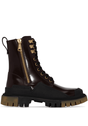 Dolce & Gabbana military-style chunky boots - Brown
