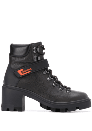 Moncler chunky lace-up leather boots - Black
