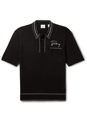 Burberry - Logo-Embroidered Contrast-Tipped Knitted Mulberry Silk Polo Shirt - Men - Black