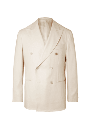 Caruso - Double-Breasted Linen and Silk-Blend Twill Suit Jacket - Men - Neutrals