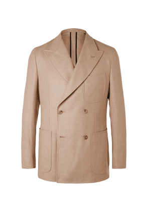 Caruso - Unstructured Double-Breasted Camel, Wool and Silk-Blend Twill Blazer - Men - Brown