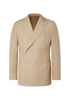 Caruso - Aida Double-Breasted Wool and Mohair-Blend Suit Jacket - Men - Brown
