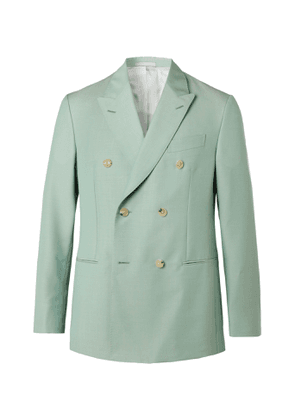 Caruso - Macbeth Double-Breasted Wool and Mohair-Blend Blazer - Men - Green