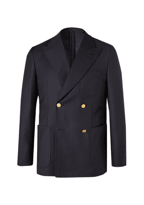 Caruso - Unstructured Double-Breasted Wool Blazer - Men - Blue
