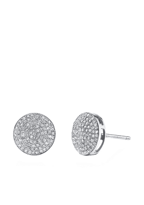 SHAY 18kt white gold round pave diamond stud earrings - SILVER