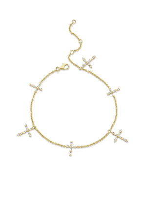SHAY 18kt yellow gold Dearly Devoted diamond cross anklet