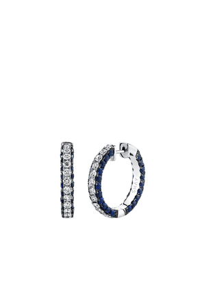 SHAY 18kt white gold sapphire diamond three-sided hoops - SILVER
