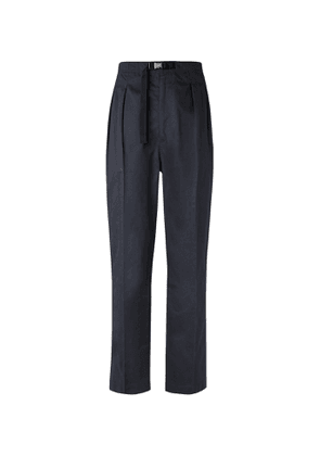 Chimala - Tapered Belted Pleated Cotton-Poplin Trousers - Men - Black