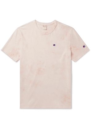 Champion - Logo-Embroidered Tie-Dyed Cotton-Jersey T-Shirt - Men - Pink
