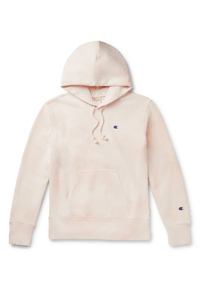 Champion - Logo-Embroidered Tie-Dyed Fleece-Back Cotton-Blend Jersey Hoodie - Men - Pink