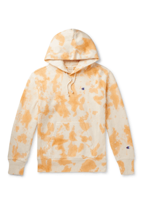 Champion - Logo-Embroidered Tie-Dyed Fleece-Back Cotton-Blend Jersey Hoodie - Men - Orange