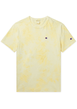 Champion - Logo-Embroidered Tie-Dyed Cotton-Jersey T-Shirt - Men - Yellow