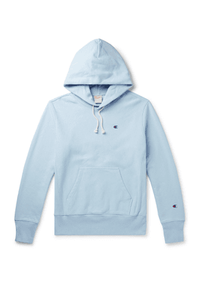 Champion - Logo-Embroidered Fleece-Back Cotton-Blend Jersey Hoodie - Men - Blue