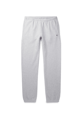 Champion - Slim-Fit Fleece-Back Cotton-Blend Jersey Sweatpants - Men - Gray
