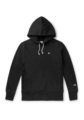 Champion - Logo-Embroidered Fleece-Back Cotton-Blend Jersey Hoodie - Men - Black