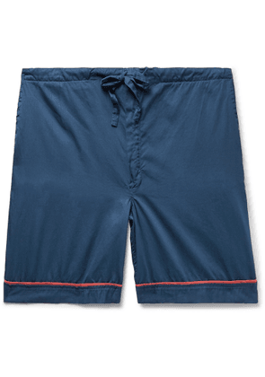 Cleverly Laundry - Piped Garment-Dyed Washed-Cotton Pyjama Shorts - Men - Blue