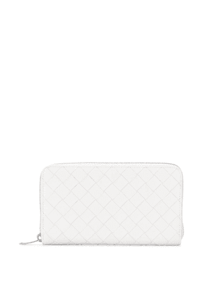 Bottega Veneta woven leather continental wallet - White